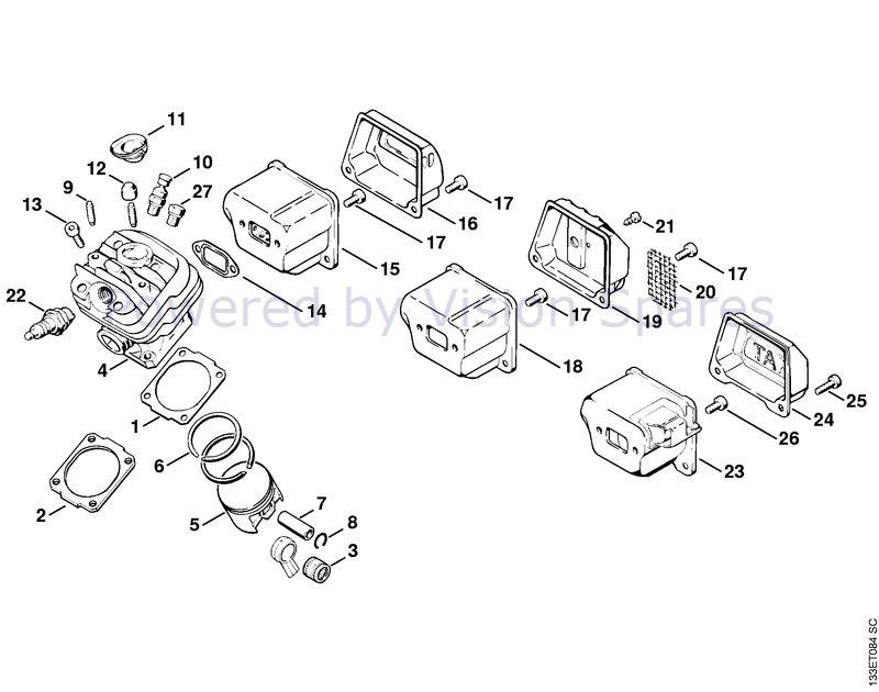 Stihl 026 Chainsaw (026) Parts Diagram, Cylinder/Muffler