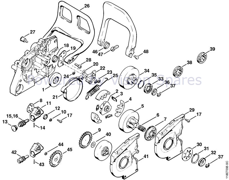 Stihl 028 Chainsaw (028) Parts Diagram, Oil Pump/Chain Brake