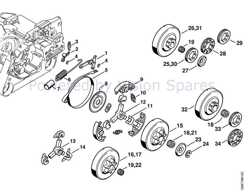 Stihl 034 Chainsaw 034 Parts Diagram Chain Brake Clutch