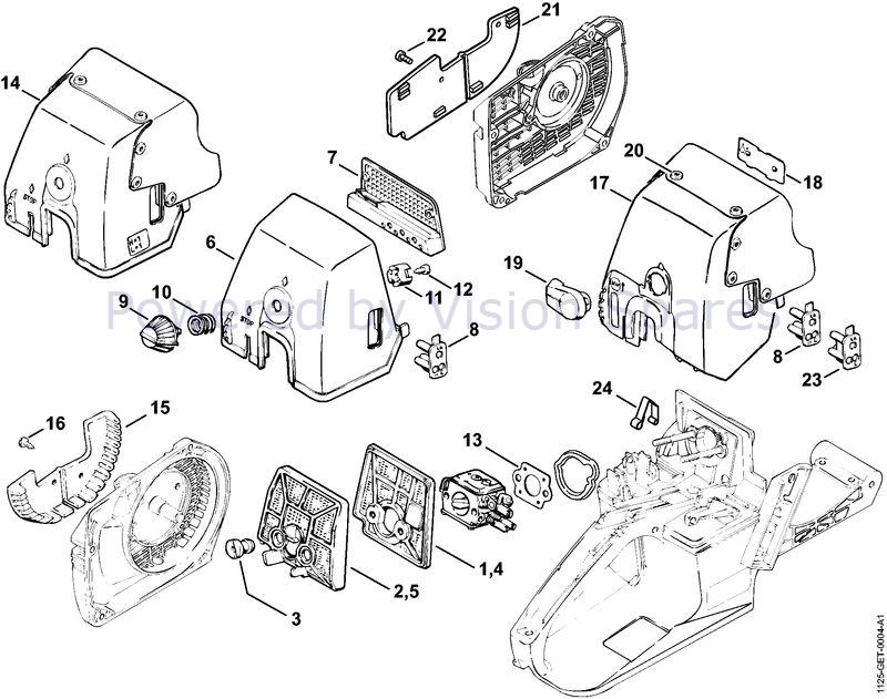 Stihl 034 Chainsaw 034 Parts Diagram Air Filter 08 2000 31 2001