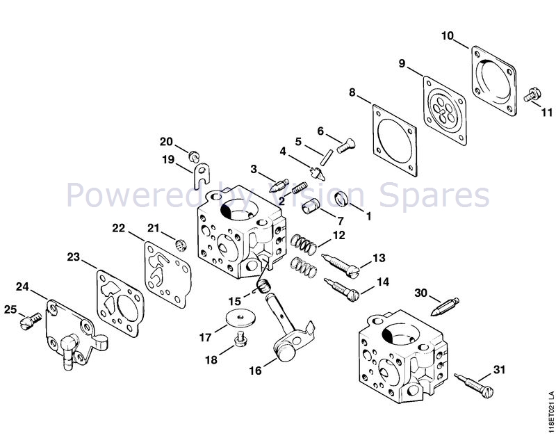 Stihl 028 Chainsaw (028) Parts Diagram, Carburetor HU-40D