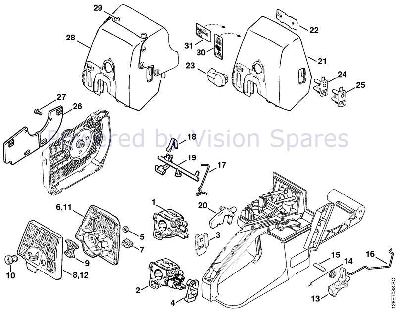 Stihl 034 Chainsaw 034 Parts Diagram Air Filter Throttle Control